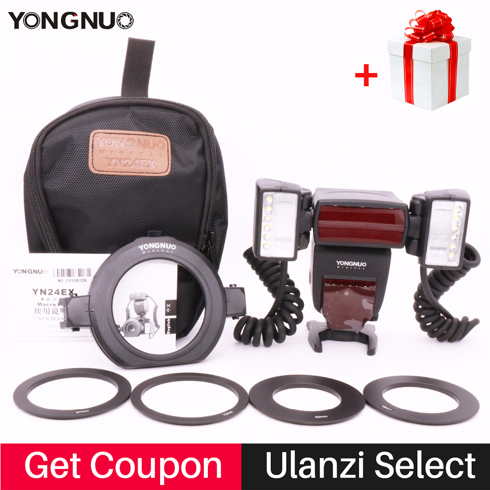 YONGNUO YN24EX 2 pcs Flash Tête Macro Flash Lumière E TTL Speedlite pour Canon EOS 5 DIII 80D 750D 700D 650D 1100D DSLR Caméra YN24ex