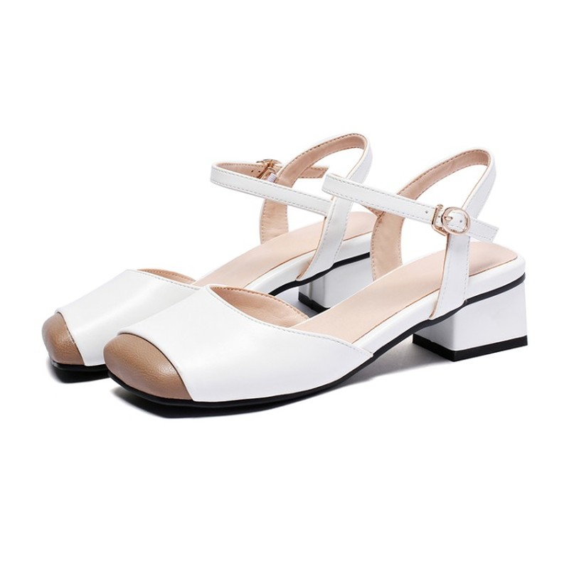 Womens Block Square Heel Closed Square Toe Sandal Shoes Summer Comfort Sandals Street Shoes Women Shoes Size 33 39 in Middle Heels from Shoes