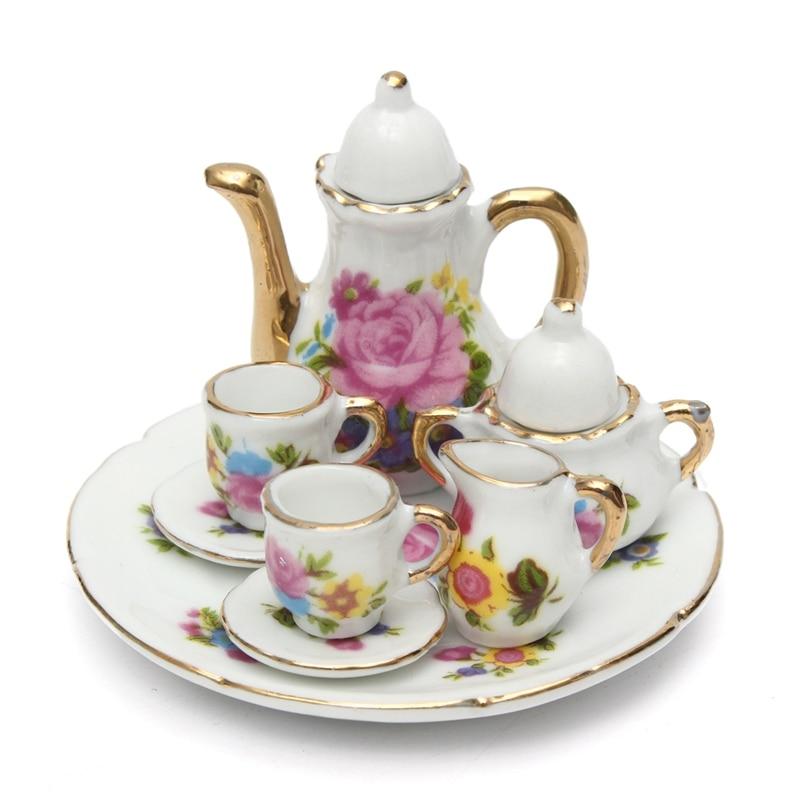 8pcs set doll house miniature dining ware porcelain tea for Decor 8 piece lunch set