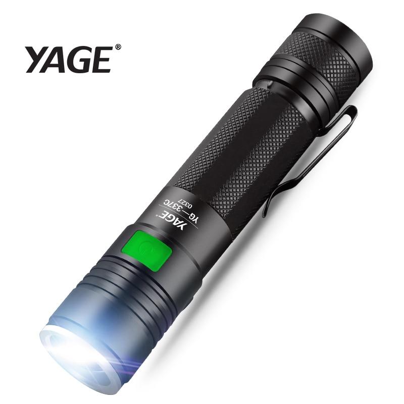 YAGE 337C XM-L Q5 3800LM aluminio impermeable Zoomable CREE LED linterna antorcha luz para 18650 batería (NO) USB 5-modos