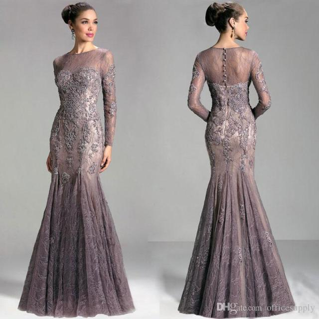 4b7354e243 Saudi Arabia Dubai Long Sleeve Elegant Formal Evening Gowns 2017 Lace  Mermaid Evening Dresses