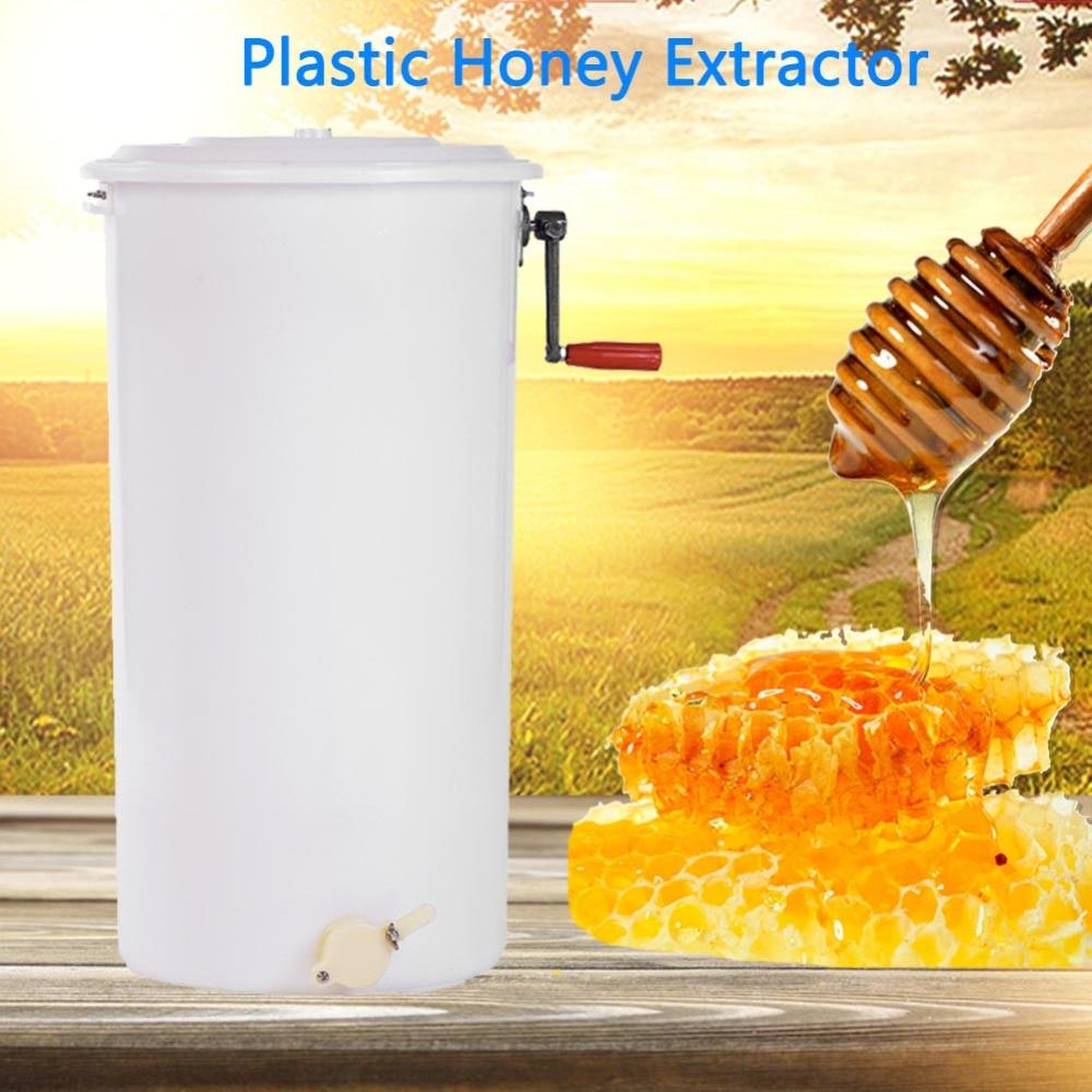 2 Frame Plastic Manual Bee Honey Extractor Honeycomb Beekeeping Equipment White 1pc plastic uncapping needle roller bee honey extractor tool 29 5cm length for beekeeping equipment