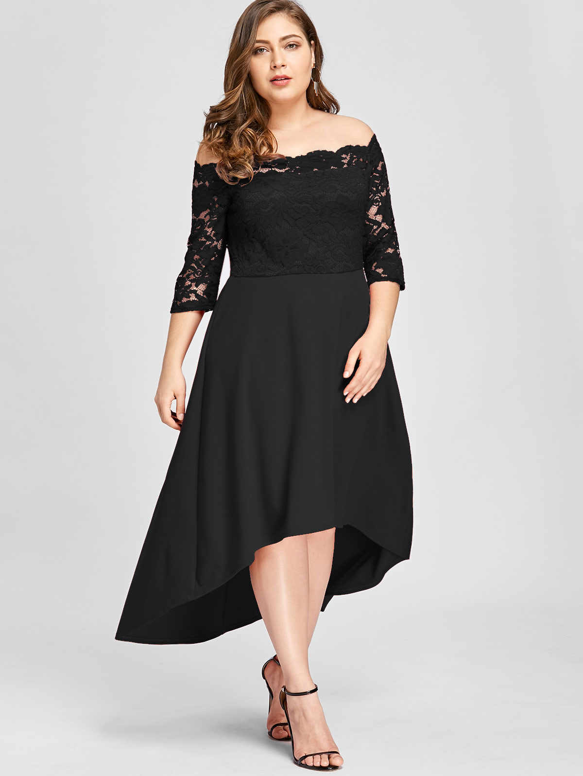 8b42bf59a5d67 ... Wipalo Women Party Dress Plus Size Off Shoulder Dip Hem Lace 3 4 Length  Sleeves ...
