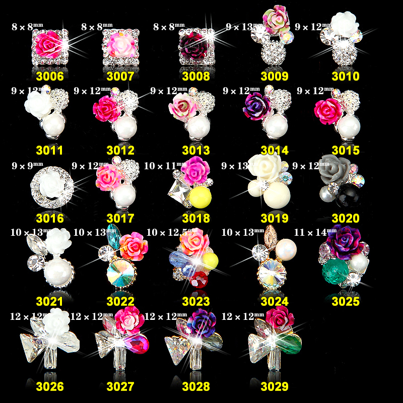 24designs wholesale 7 10mm 100pcs mixed 10pcs alloy 3d nail art rose flowers jewelry nails crystal rhinestones in Stickers Decals from Beauty Health
