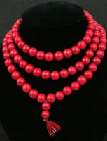 fine quality Women Gift word Love huij 004717 Rare 108 Tibetan Buddhist Red Coral 10mm Prayer Beads Necklace Natural Color