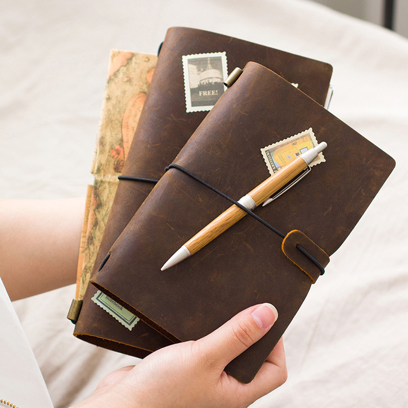 100% Genuine Leather Traveler's Notebook Diary Journal Vintage Handmade Cowhide gift travel notebook BUY 1 Get 5 Accessories