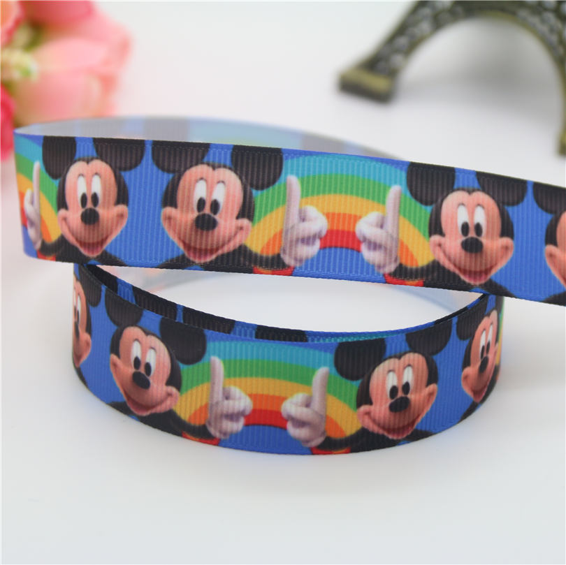 DHK 7/8 Free shipping mic min mouse cartoon printed grosgrain ribbon hairbow headwear decoration wholesale 22mm S656