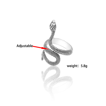 Fashion Retro Exaggerated Spirit Snake Ring Personality Punk Wind Snake-Shaped Nightclub Ring Student Trend Jewelry Gift 5