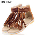 LIN KING Plus Size Roman Woman Summer Sandals Flat Women Fashion Tassel Lady Sandals Gladiator Casual Ankel Wrap Female Shoes