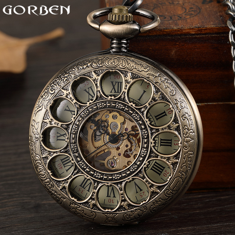 Vintage Steampunk Mens Mechanical Hand-wind Pocket Watch Hollow Roman Dial Bronze Retro Skeleton Clock FOB Chain Pocket Watches retro luxury gold smooth mechanical pocket watch fob chain roman dial hand wind steampunk hand wind pocket watch male clock gift