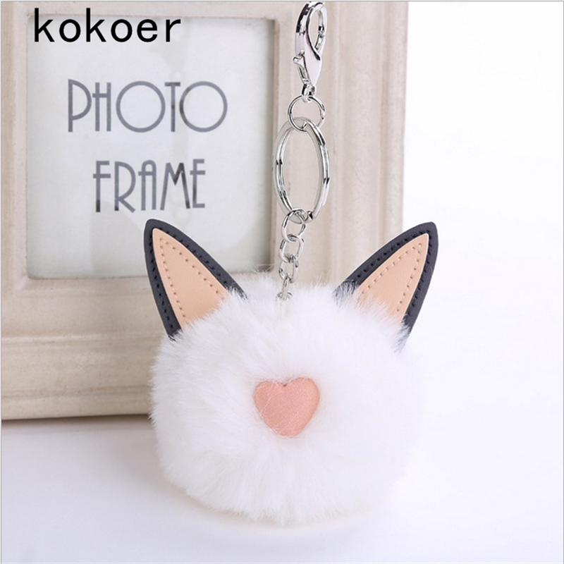 2017 Rex rabbit Fur Keychain Pompon Soft cat ears bags hang key chain pendant Balls Silver