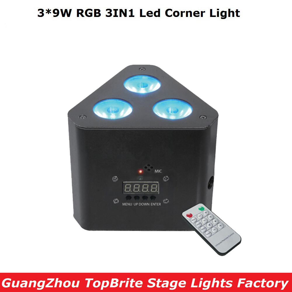2017 Big Discount Mini Led Par Lights 3*9W RGB 3IN1 Led Corner Light Stage Effect Lighting with Remote DMX Control Free Shipping niugul dmx stage light mini 10w led spot moving head light led patterns lamp dj disco lighting 10w led gobo lights chandelier