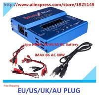 New iMAX B6AC 80w Lipo NiMH 3S/4S/5S RC Battery Balance Charger EU/US/UK/AU plug power supply wire