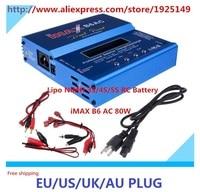 New iMAX B6AC 80w Lipo NiMH 3S/4S/5S RC Battery Balance Charger EU/US/UK/AU plug power supply wire