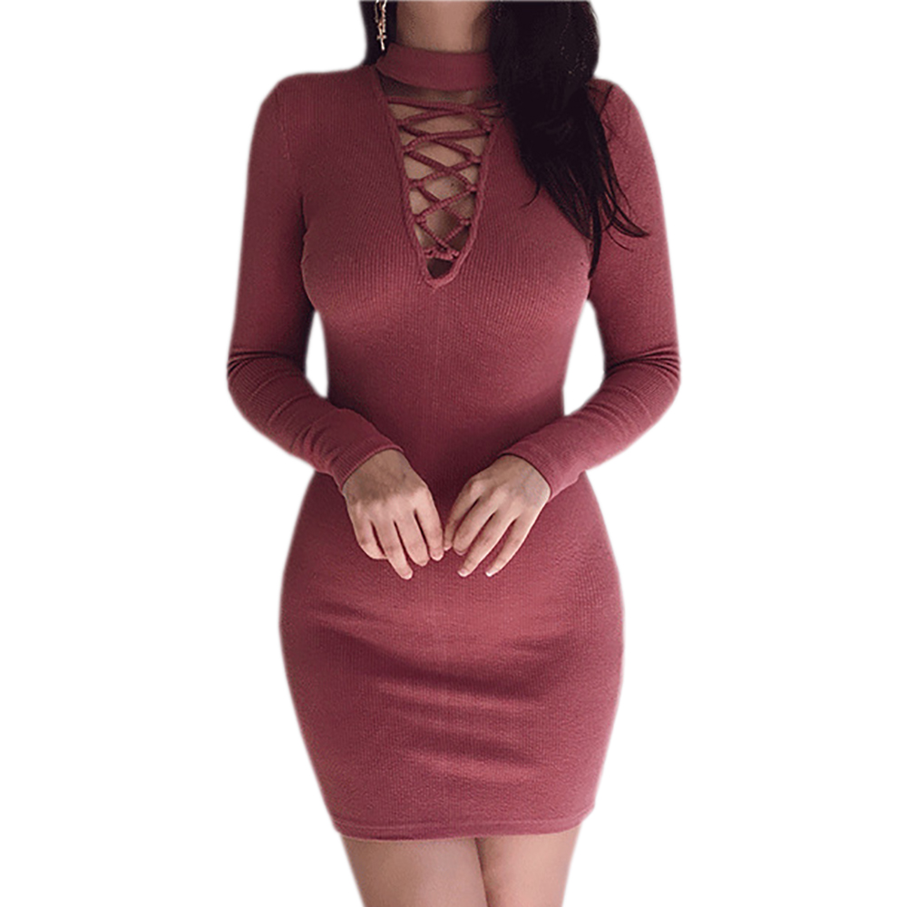 2017 Fashion Autumn Winter Knitted Bodycon Dress Long Sleeve Lace Up Bandage Sexy Plugging