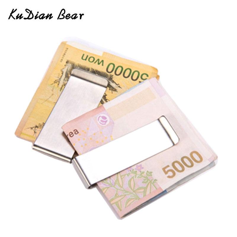 KUDIAN BEAR Stainless Steel Men Money Clips Metal Slim Money Clip Purses Wallet Money Holder for Men portafoglio BID234 PM49