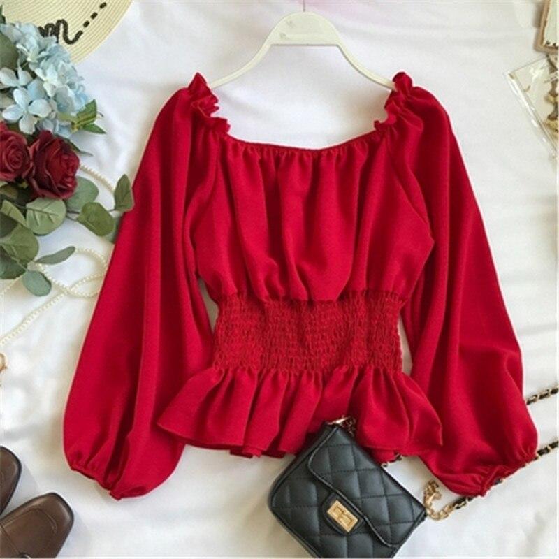 2019 summer new lantern sleeve chiffon women blouse and shirts solid slim sexy slash neck ruffles lady shirts outwear tops Z1698 4