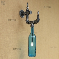 Loft retro bottle, energy saving lamp, industrial American Cafe, personality bar, living room, water tube wall lamp.