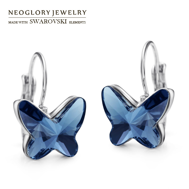 Neoglory Austria Crystal Drop Charm Earrings Elegant Colorful Butterfly Style For Lady Romantic Party Trendy Classic Dress Gift 1pc bohemian style colorful butterfly earrings