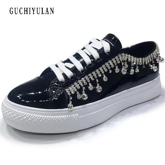 Diseño de lujo rhinestone + cuero genuino mujeres zapatos planos nueva mujer Casual zapatos planos mujer mocasines lace up womens zapatillas