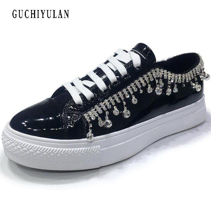 Luxury design rhinestone+Genuine leather Women Flats Shoes New Female Casual Flat shoes Woman loafers lace up womens sneakers guvoosm new autumn full genuine leather women flats female lace up loafers casual handmade rubber shoes woman big size 36 43