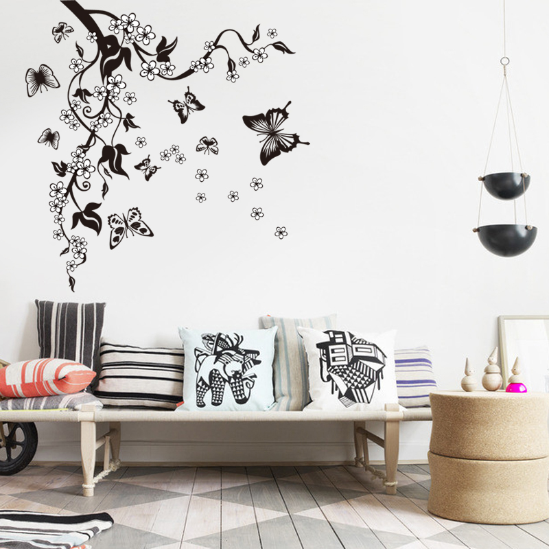 Image 3 - Creative Butterfly Flower Branch Decorative Wall Stickers Home Decor Living Room Decorations Pvc Wall Decals Diy Mural Art-in Wall Stickers from Home & Garden