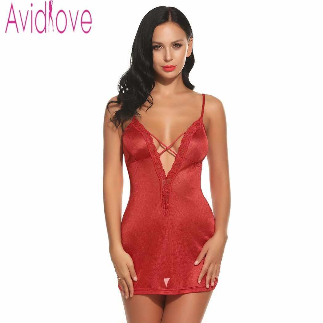 38ae74ce1 Avidlove Brand Sleepwear Lingerie Strap Deep V-Neck Babydoll Set Sexy Dress  Nightwear 4 Color