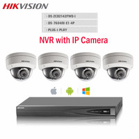 Hikvision CCTV Camera 4pcs DS 2CD2142FWD I IP POE 4MP WDR Camera HD 1080P Onvif P2P
