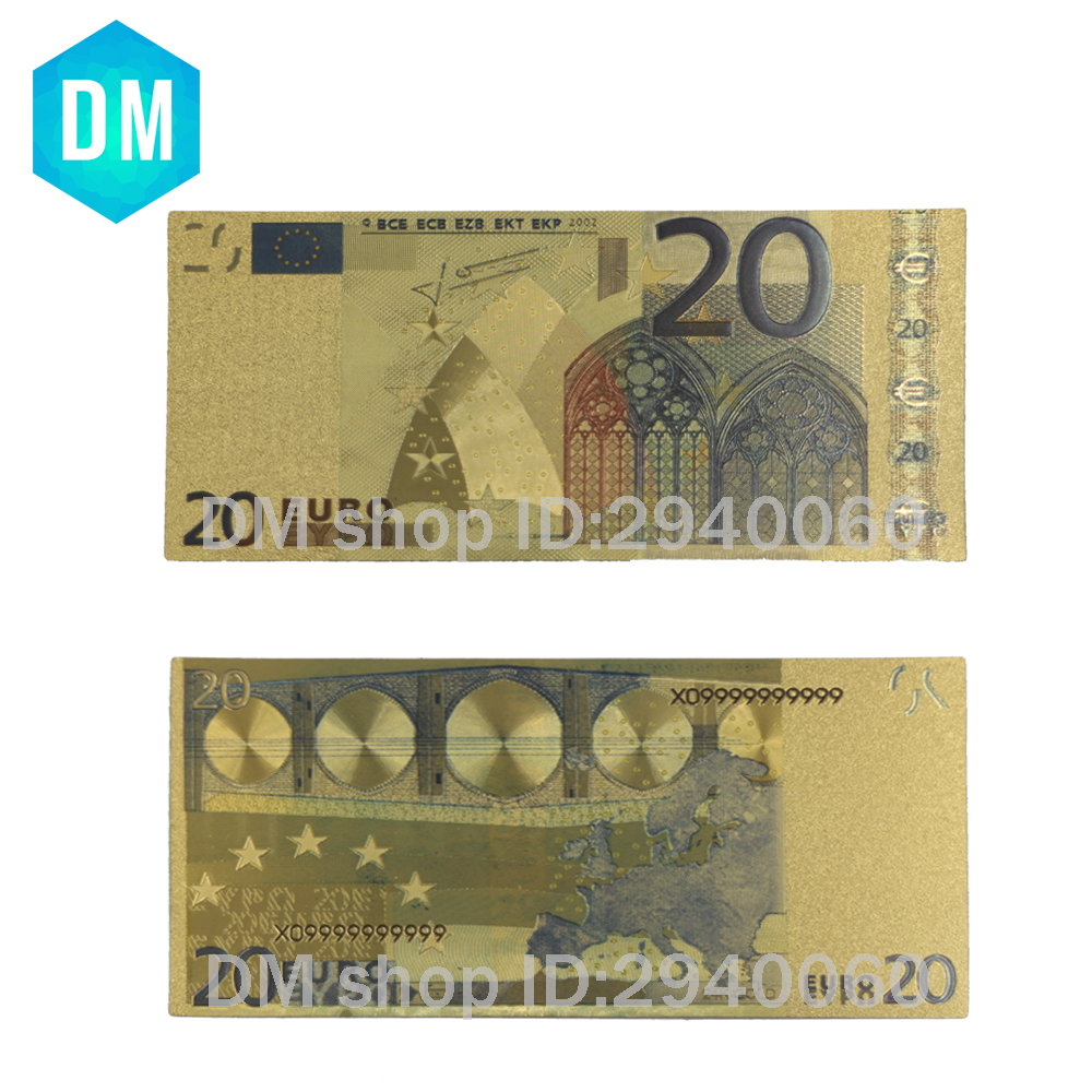 10pcs/lot 24k Gold Foil Plated <font><b>20</b></font> <font><b>Euro</b></font> Bank Notes in Colors, Gold <font><b>Banknotes</b></font> Paper Money Wedding Return Gift image