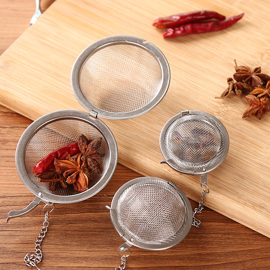 3 Sizes Hot Sphere Locking Spice Tea Strainer Stainless Steel Ball Tools Herb Spice Filter Diffuser Tea Infuser Kitchen Gadgets