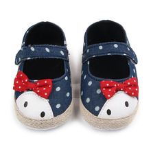 Beautiful Toddler Baby Girl Dress Shoes Shallow Cute Denim Butterfly-knot Infant Baby Girl First Walker Shoes 0-12 Months