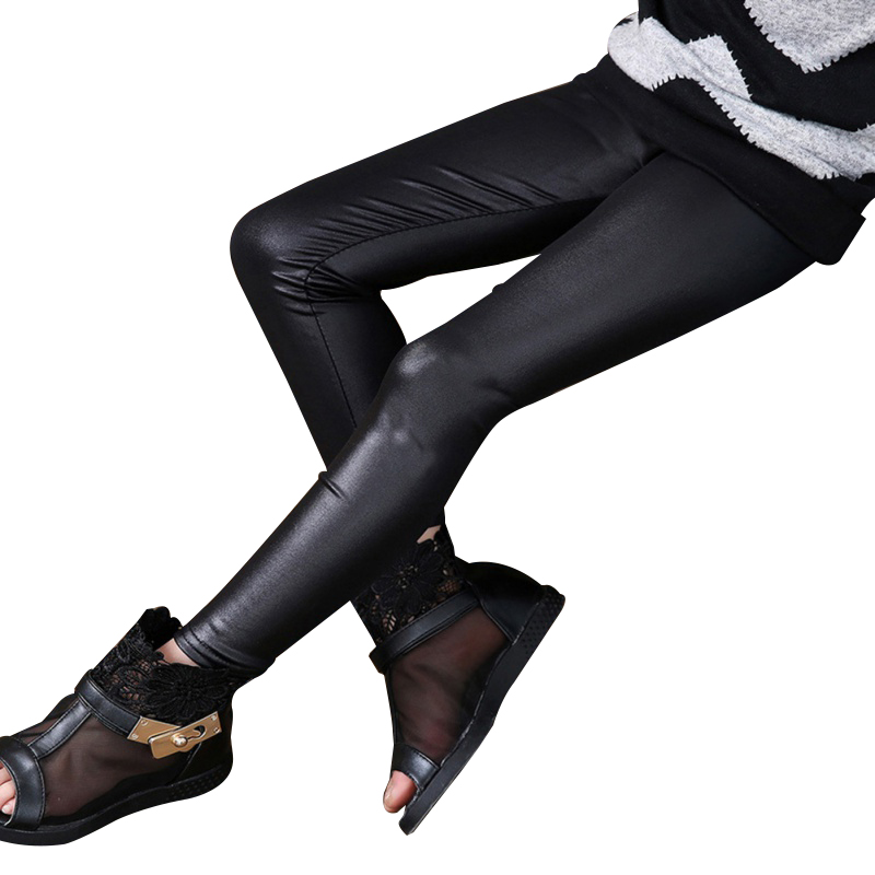 2017 New Arrival Baby Girls Stretchy Leggings Trousers Kids PU Leather Pants 3-12Y