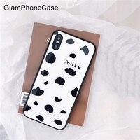 GlamPhoneCase молоко шаблон Стекло чехол для iPhone X 8 8 плюс 7 7 плюс 6 плюс 6 S 6 S + твердая задняя крышка Дело Капа