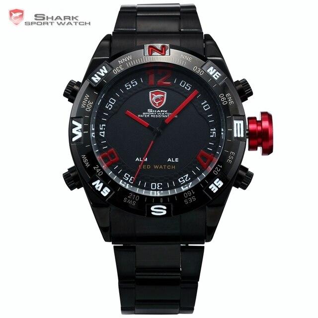 Bullhead SHARK Sport Watch Black Steel Metal Band Digital LED Date Alarm Red Montre Water Resistant Quartz Army Timepiece /SH101
