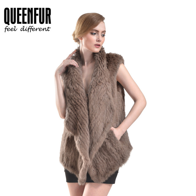 QUEENFUR Women Real Knitted Rabbit Fur Waistcoat 2016 Fashion Natural Fur Sleeveless Vest Irregular Multicolor Winter Fur Vest