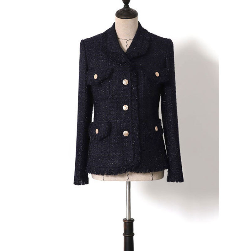 a6e78ec00f Blazer Longues Femmes Marine À Printemps De Bleu Designer Tweed Manteaux  Nouveau 2019 Mince D'hiver Glitter Gland Manches Laine Élégantes Vestes ...