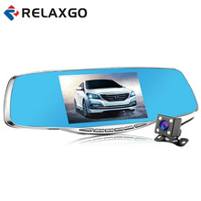 Cheapest prices Relaxgo 5″ Car DVR Rearview Mirror Video Recorder Full HD 1080P Car Camera Dual Lens Parking Black Box Dash Cam Night Vision