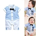 Kindstraum Gentleman Style Baby Romper Short Sleeve Summer Style Stripe Bow Tie Jumpsuits for Infant Boys & Girls, HC826