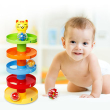 New 5-Layer Rotating Tower Toy Set Baby Falling Down Rolling 3 Active Balls And Colored Beads Development