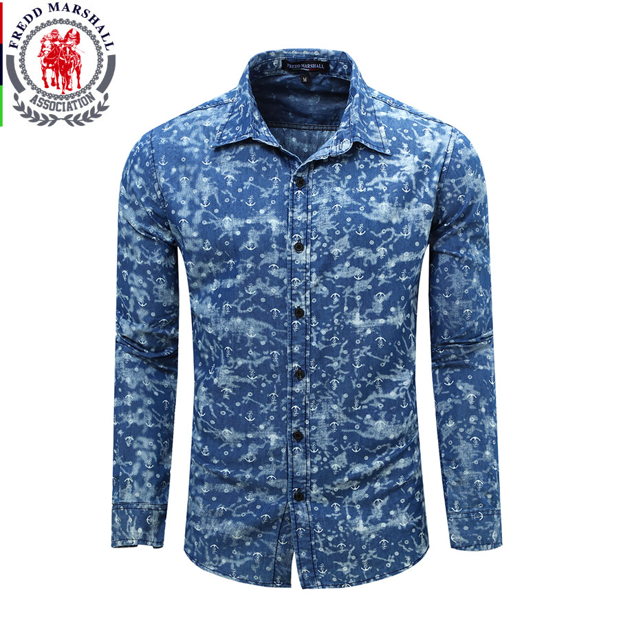 a6481271ff5e1 2017 Fashion Men Denim Shirts Long Sleeve Camisa Masculina Denim Blue Jeans  Shirt Casual Retro Washed Blouses Chemise Homme