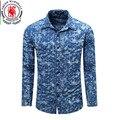 2017 Homens Da Moda Denim Camisas de Manga Longa Camisa Masculina Denim Blue Jeans Casual Camisa Retro Lavado Blusas Chemise Homme