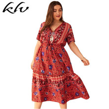 цены на Plus Size Women Holiday BOHO V Neck Floral Print Lace-up Short Sleeve Swing Midi Dress в интернет-магазинах