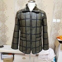 Зимнее теплое Мужское пальто из овчины, клетчатое хлопковое пальто, кожаная куртка, Толстая теплая кожа