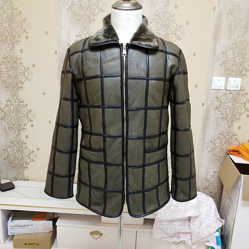 Winter warm men s fur one sheep shearing leather plaid outdoor cotton coat leather jacket thick Innrech Market.com