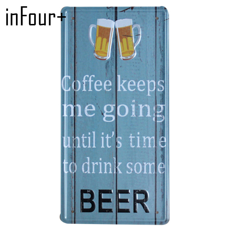 [inFour+] Hot Word Beer Plate Metal Plate Car Number Tin Sign Bar Pub Cafe Home Decor Metal Sign Garage Painting Plaques Sign