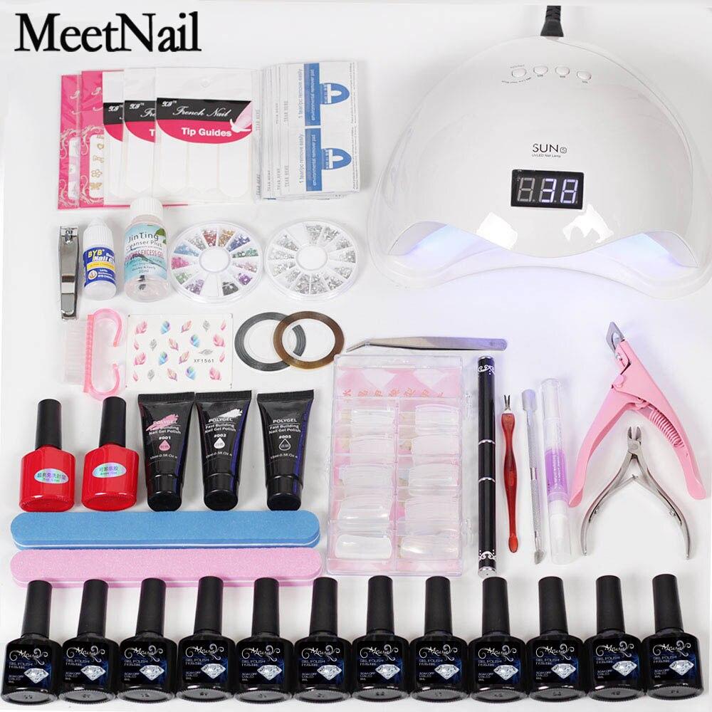 MeetNail Builder гель комплект 3 шт. полигель и 12 шт. лак для ногтей с 48 Вт Светодиодная лампа Сушилка База гель Топ пальто набор для маникюра