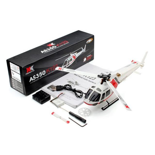 XK K123 6CH Brushless Escala AS350 3D6G Sistema de Alarma de Baja Tensión Cita Lámina Aerodinámica Adecuado Para Principiantes RC Helicóptero BNF