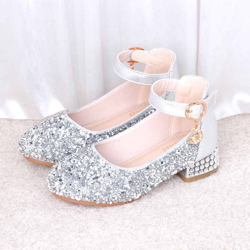 Flower Children Girls Luxury Party And Wedding Shoes For Kids Girls Silver Pink High Heel School Rhinestone Dance Shoes New