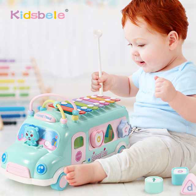 Baby Toys Knock Piano Bus Shape Learning Toys For Children Car Multi