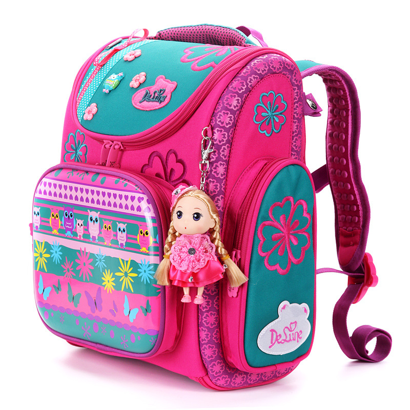 2019 Delune Brand Large Capacity Children Schoolbag Fashion Orthopedic School Bags for Girls Cartoon Dog Owl